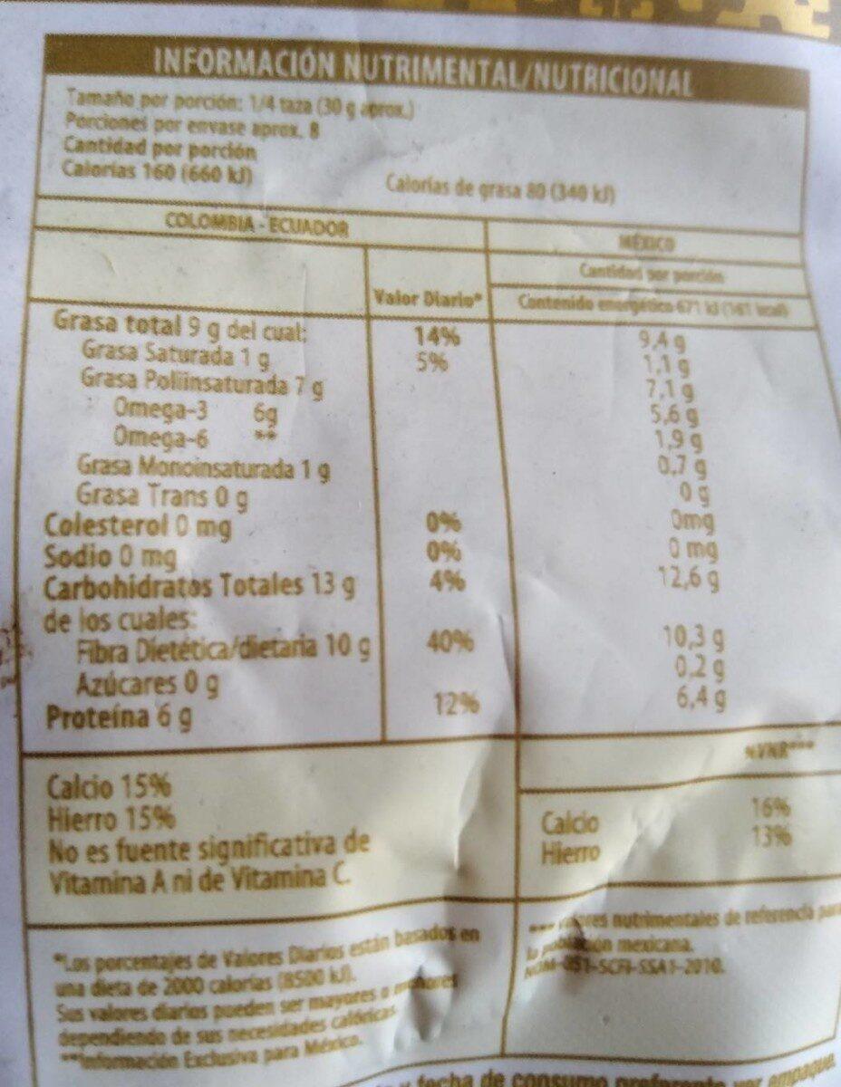 Chia life - Información nutricional - fr