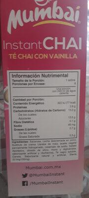 instant chai té chai con vainilla - Ingrédients - es