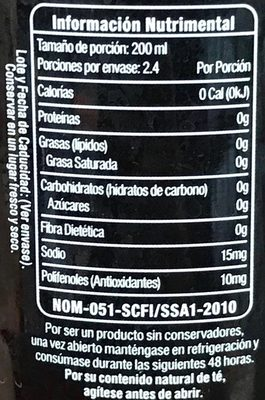 Nature's Factory Té Rojo sabor Pétalos de Rosa - Informations nutritionnelles