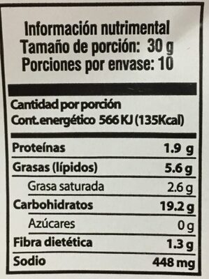 Fritura de harina de trigo - Nutrition facts