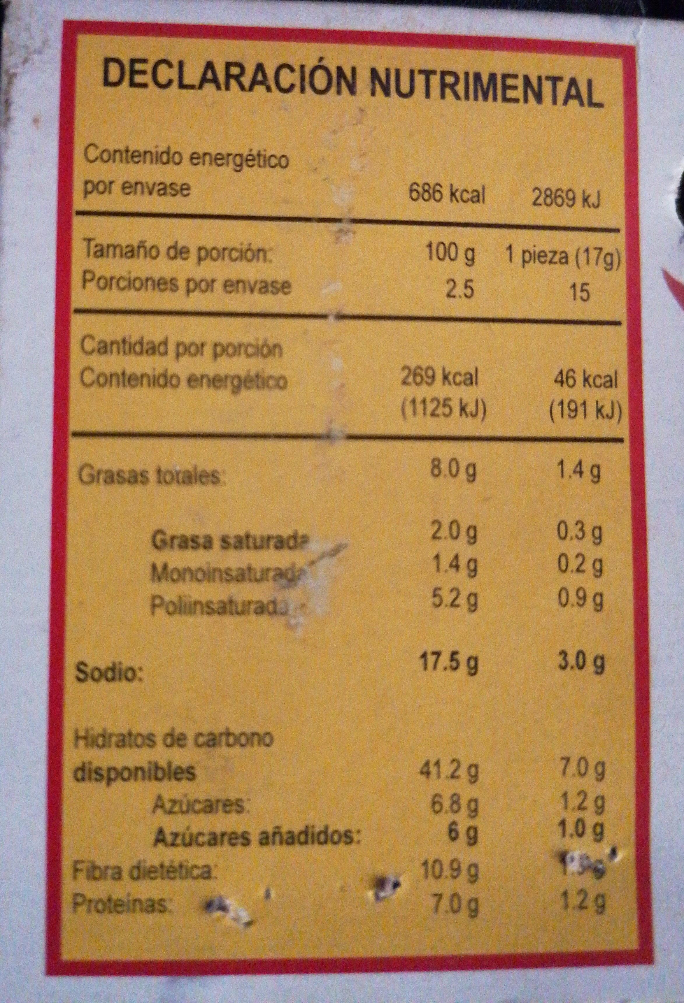 fibritas - Información nutricional - es