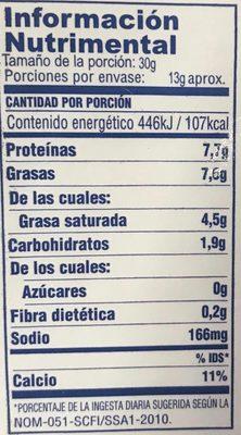 Queso Cheddar Navarro - Voedingswaarden - es