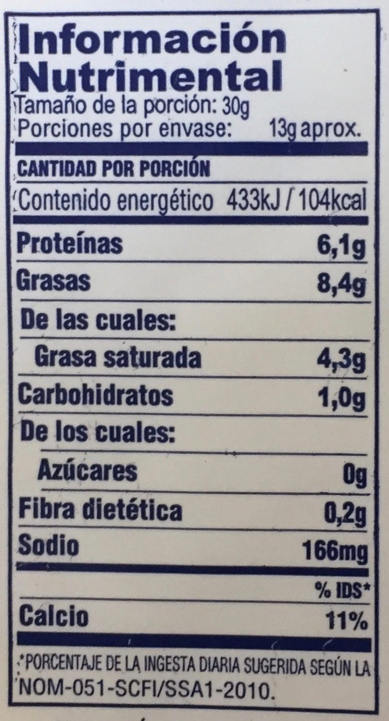 Queso manchego - Nutrition facts