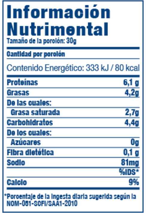 Queso adobera - Nutrition facts