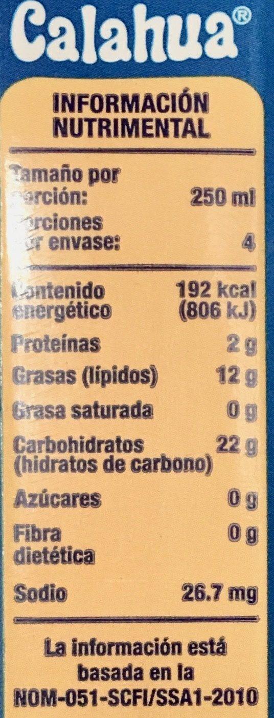 Calahua Horchata - Nutrition facts - es