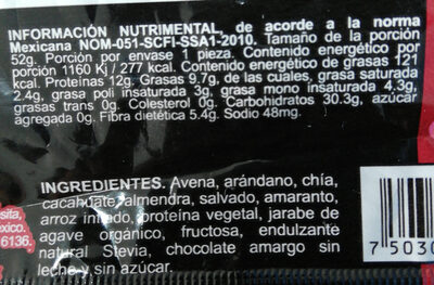 Íntegra proteína Barra multigrano - Ingredients - es