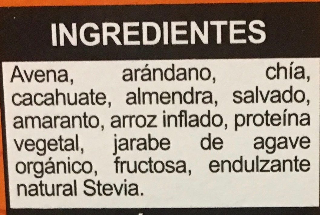 Integra proteína barra multigrano, arándano, almendra y cacahuate - Ingredients
