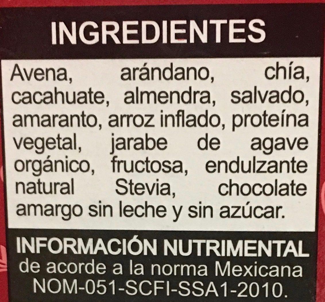 Integra proteína arándano, almendra, cacahuate. - Ingrediënten - es