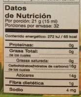 Jarabe De Agave Organico 680 GRS - Informations nutritionnelles