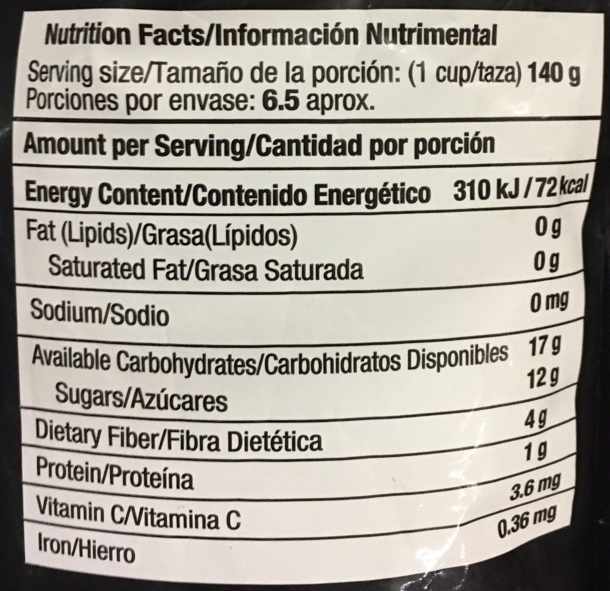 FRAMBUESA CONGELADA - Informations nutritionnelles - es