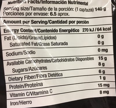 MEZCLA DE MORAS - Informations nutritionnelles - es