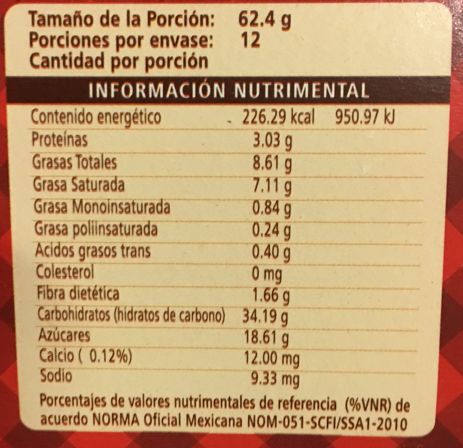 Donettes Old Fashion Sabor chocolate - Informations nutritionnelles - es