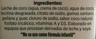 Alimento Líquido de Coco - Ingredientes - es