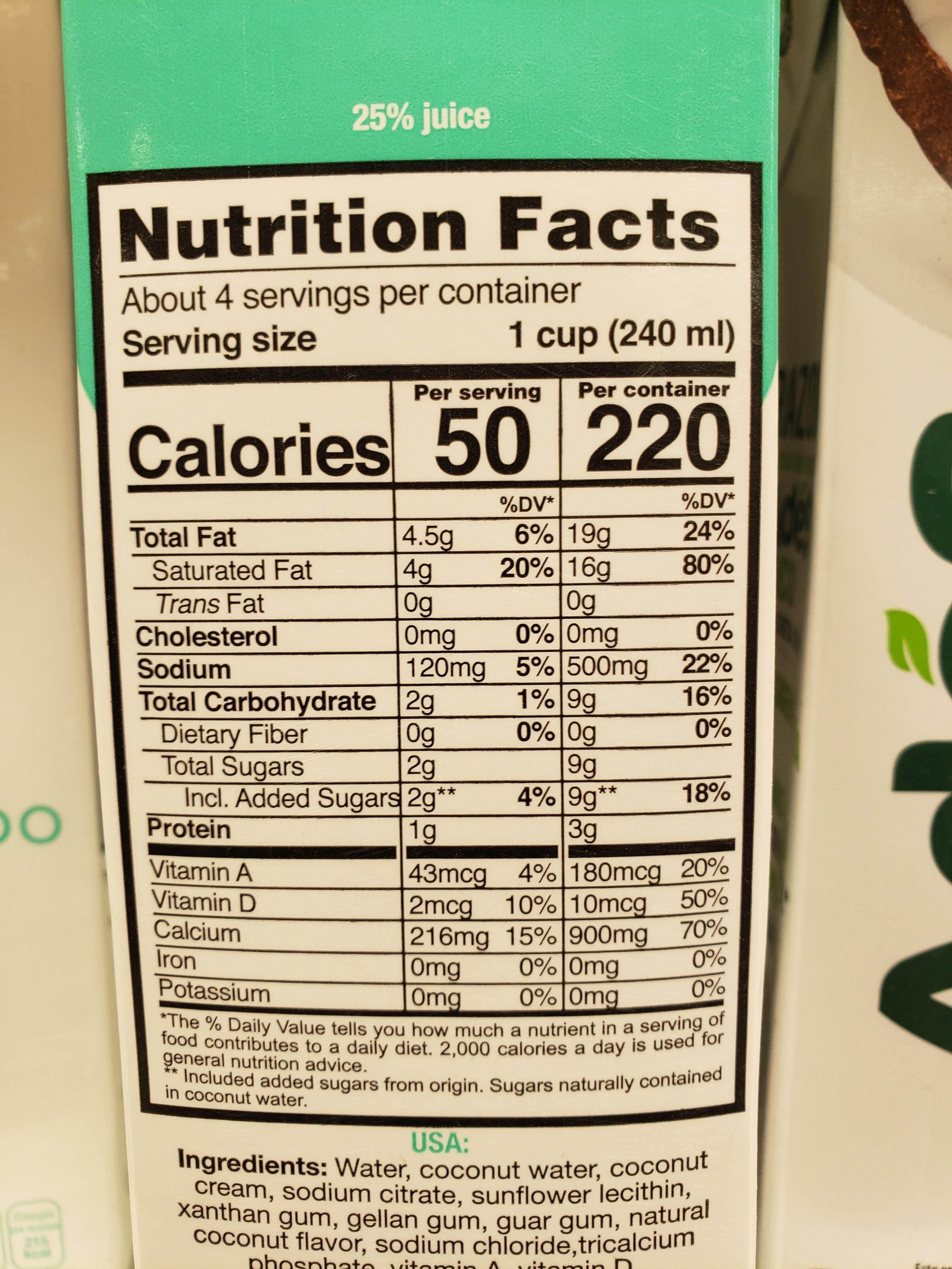 Alimento Líquido de Coco - Nutrition facts - en