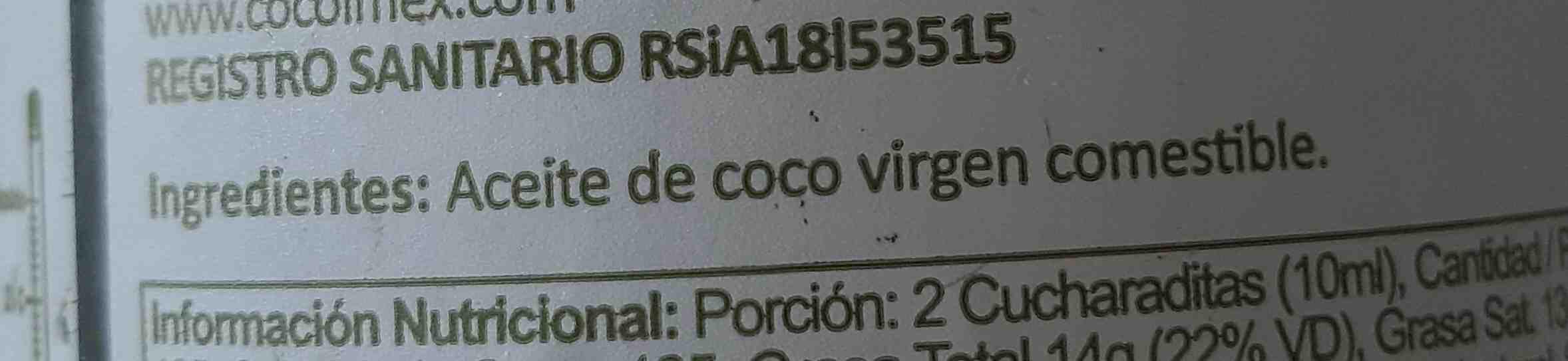 aceite A de coco - Ingredients - en