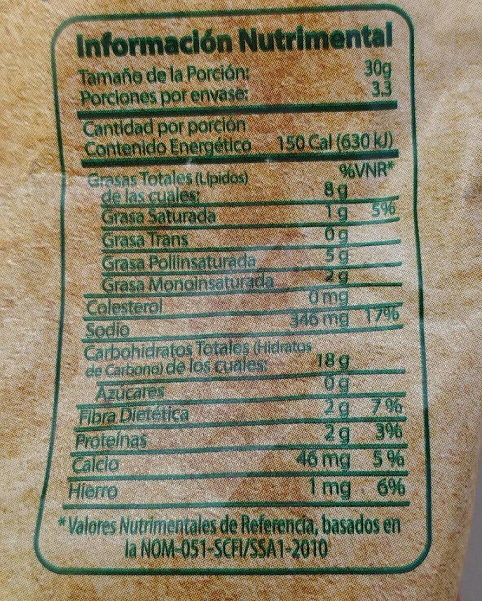 Churritos hechos con nopal fresco - Información nutricional - es