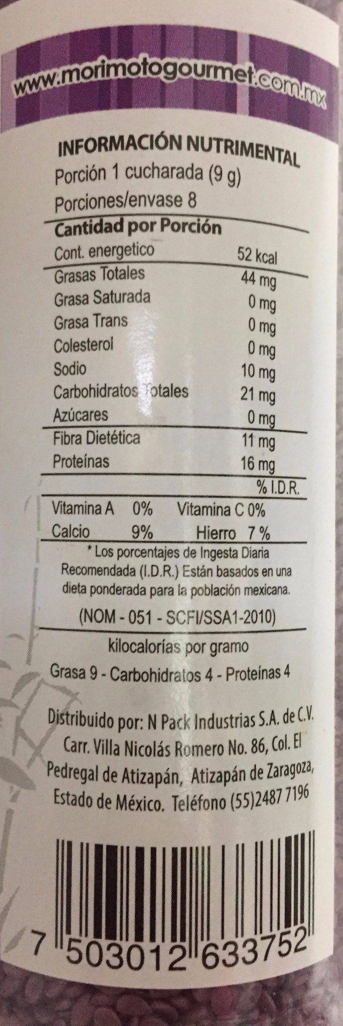 AJONJOLI MORADO - Voedingswaarden - es