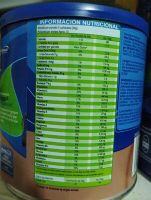 Sustagen sabor chocolate - Informação nutricional - es