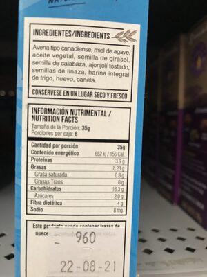 Barrinolas con miel de agave - Voedingswaarden - es