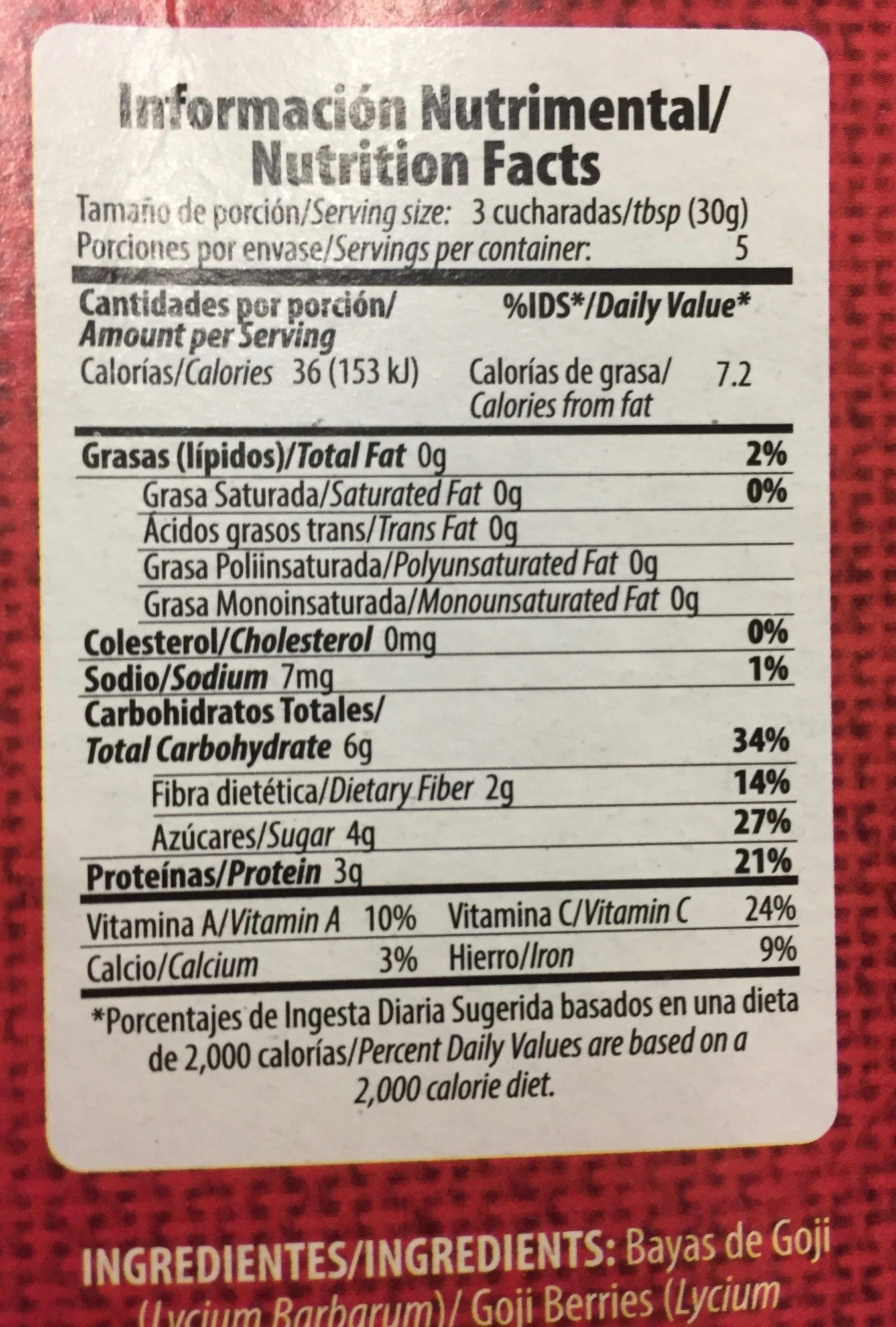 Super foods Goji Berries - Nutrition facts