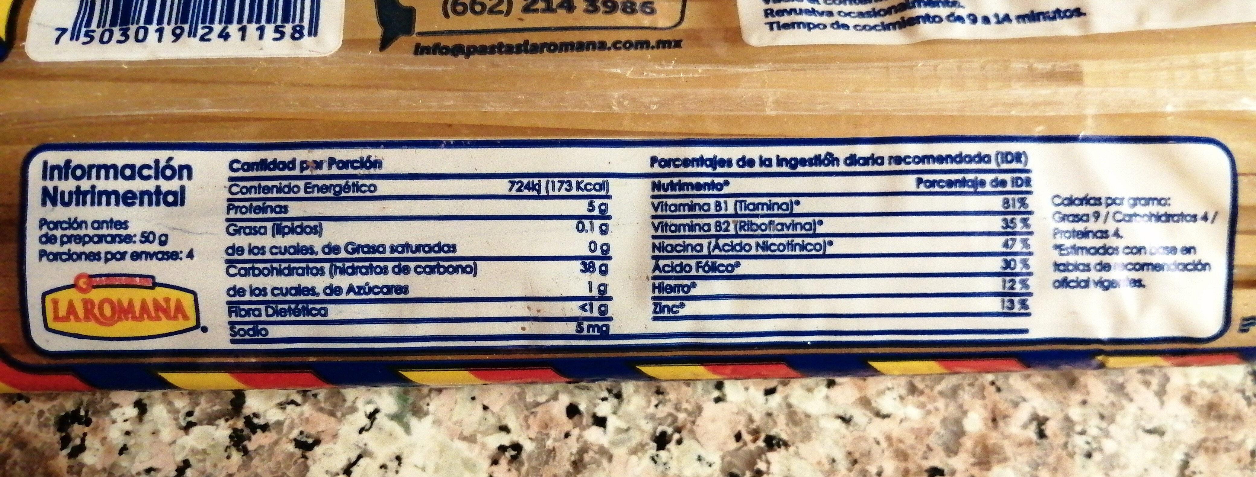 Pasta para sopa tallarín - Información nutricional - es