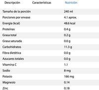 Pure Natural concepts Quinoa sabor Mango - Voedingswaarden