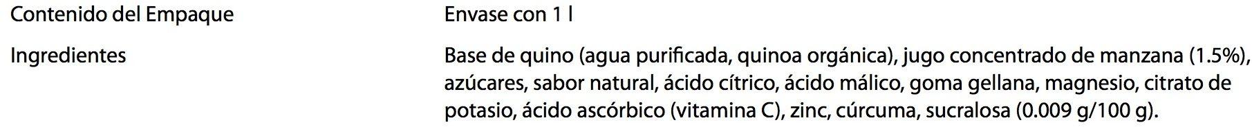Pure natural concepts, Quinoa sabor Manzana - Ingrédients - es