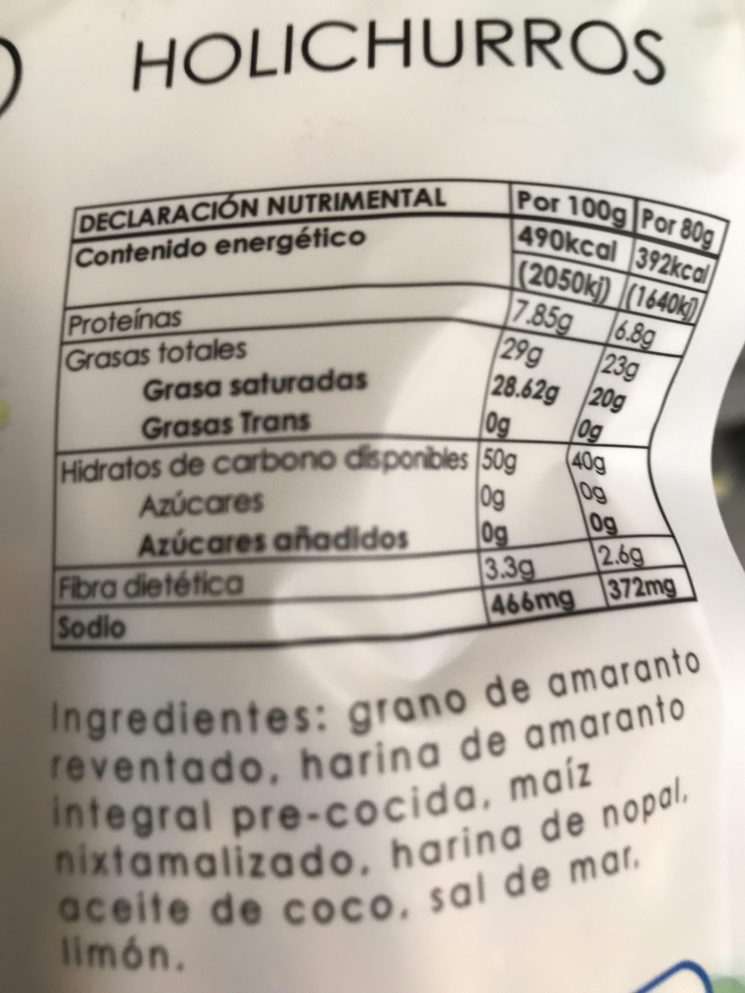 Holichurros sal - Información nutricional - en
