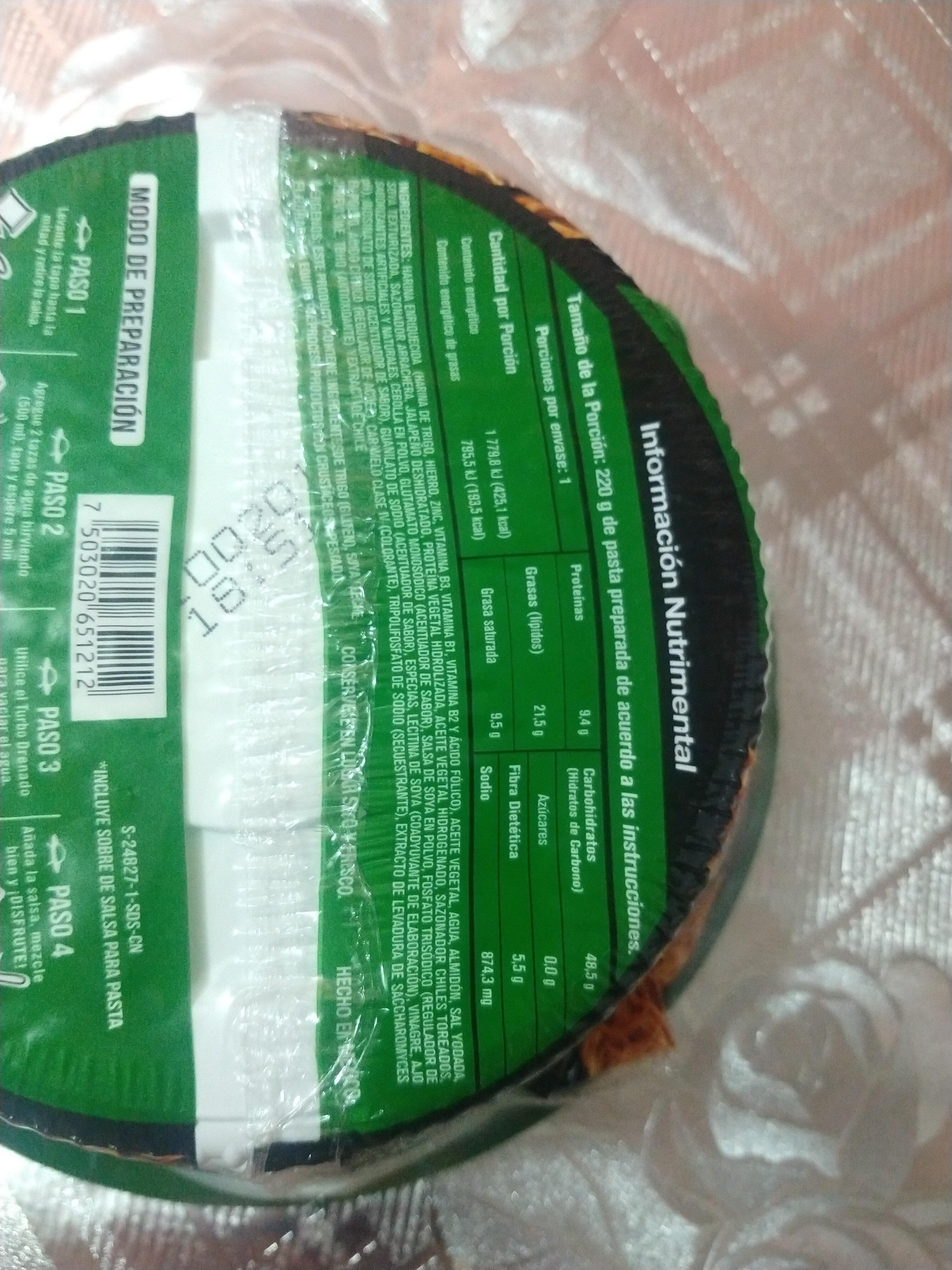 Nissin UFO Arrachera - Ingredientes - es