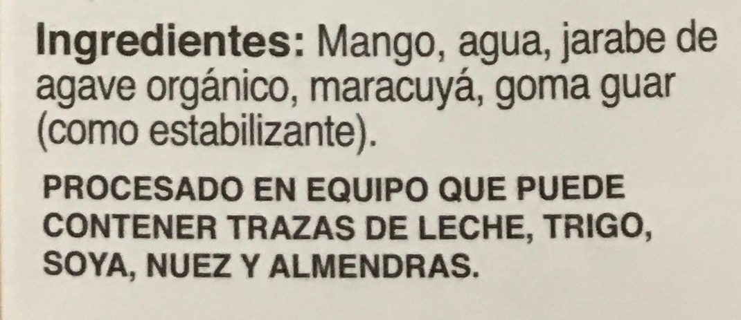 Mini paletas de mango maracuya Holistik - Ingredientes - es