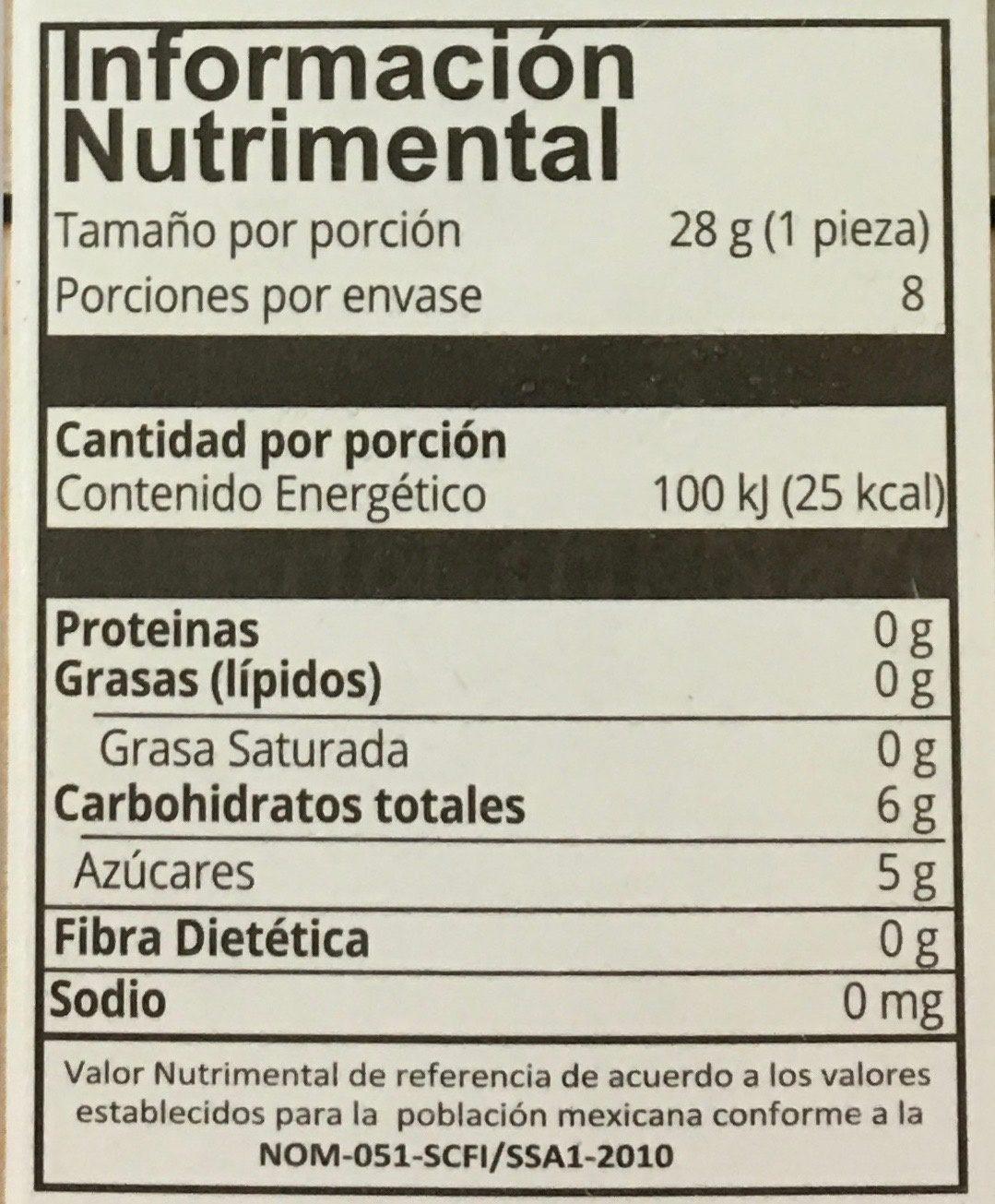 Mini paletas de mango maracuya Holistik - Información nutricional - es