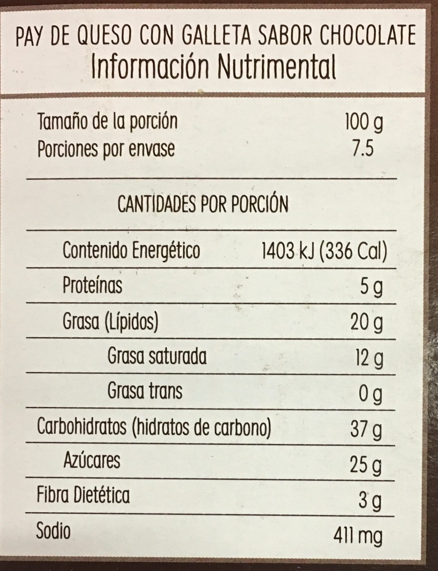 Cheesecake Oreo - Voedingswaarden