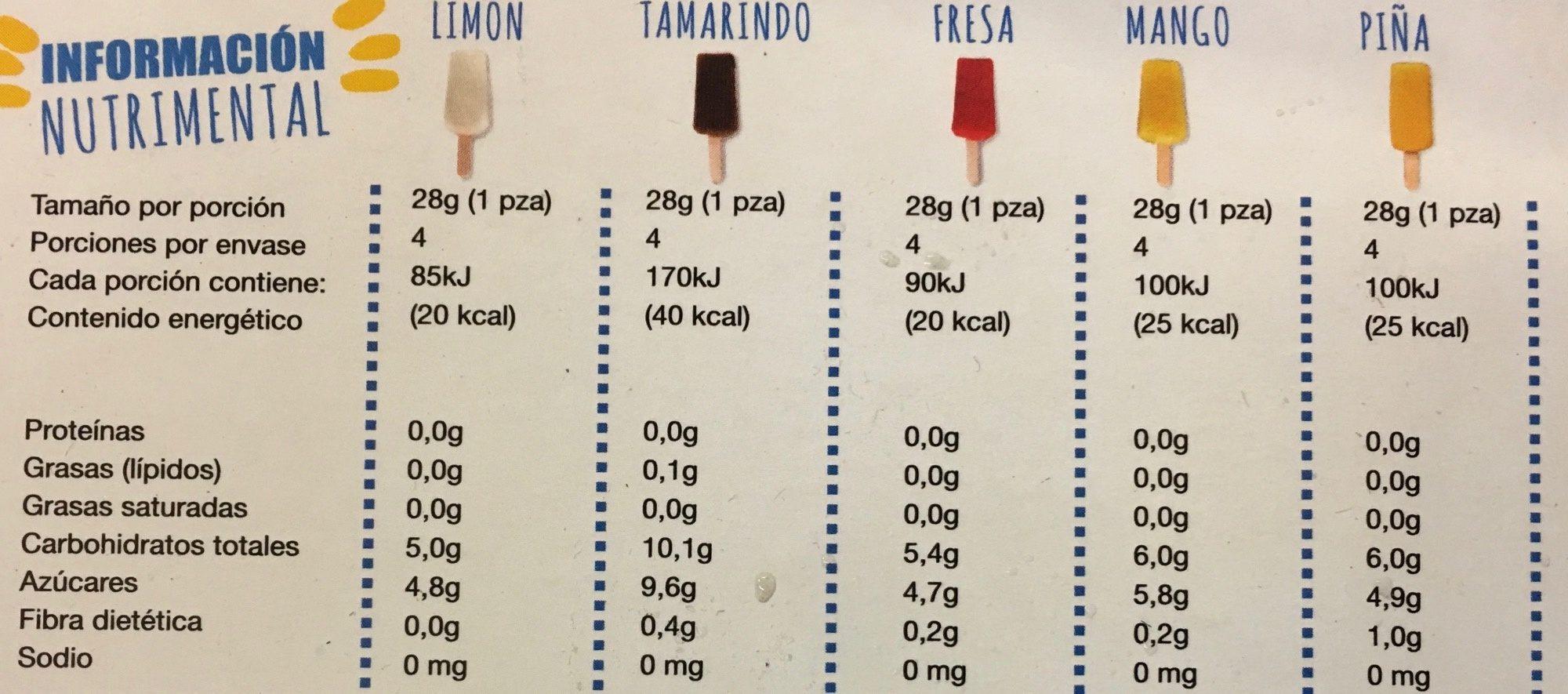Mini paletas de agua Kids Ice - Informations nutritionnelles