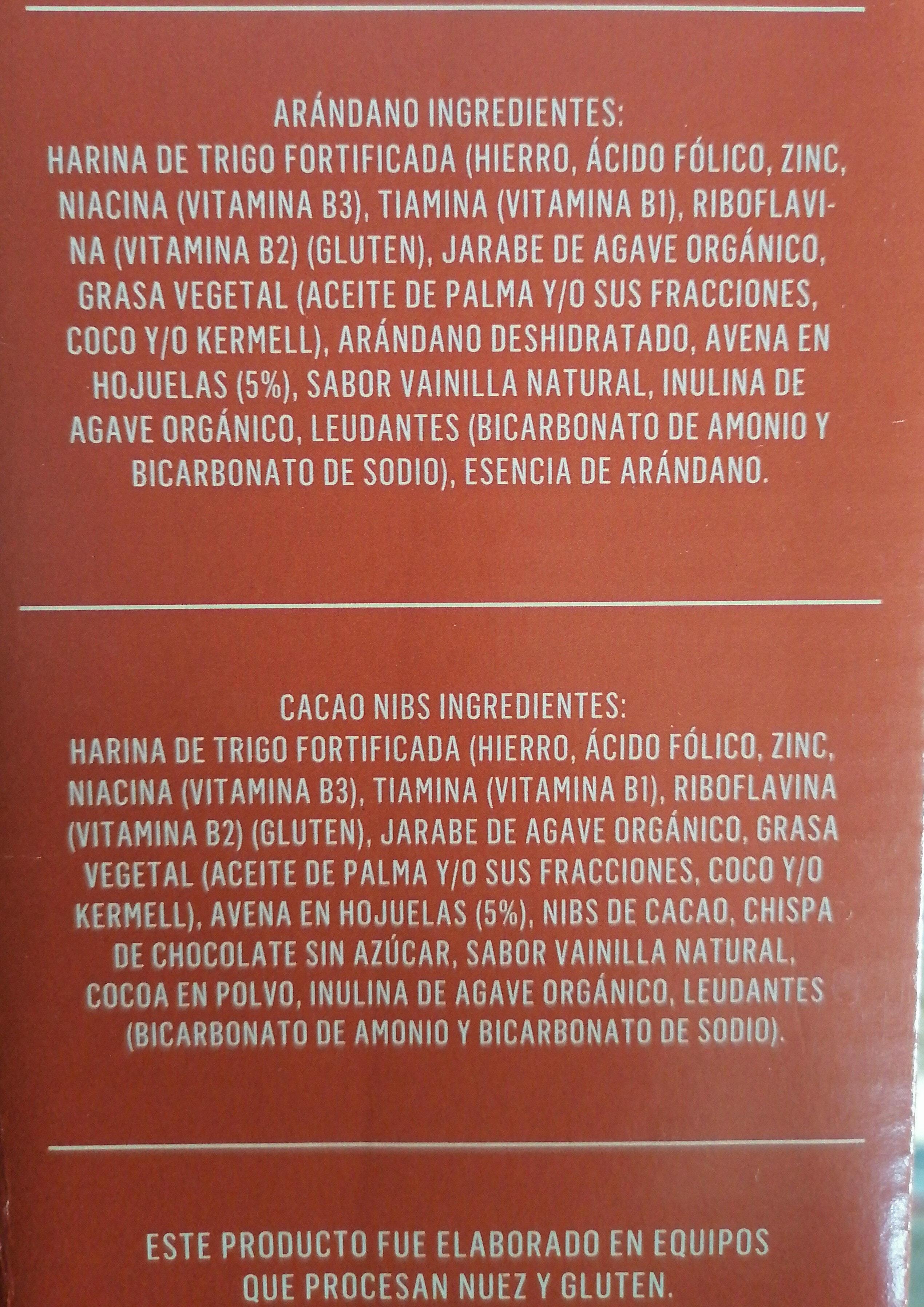Galletas con avena sabor cacao nibs y arándano - Ingredientes - es