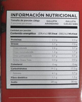 Galletas con avena sabor cacao nibs y arándano - Información nutricional