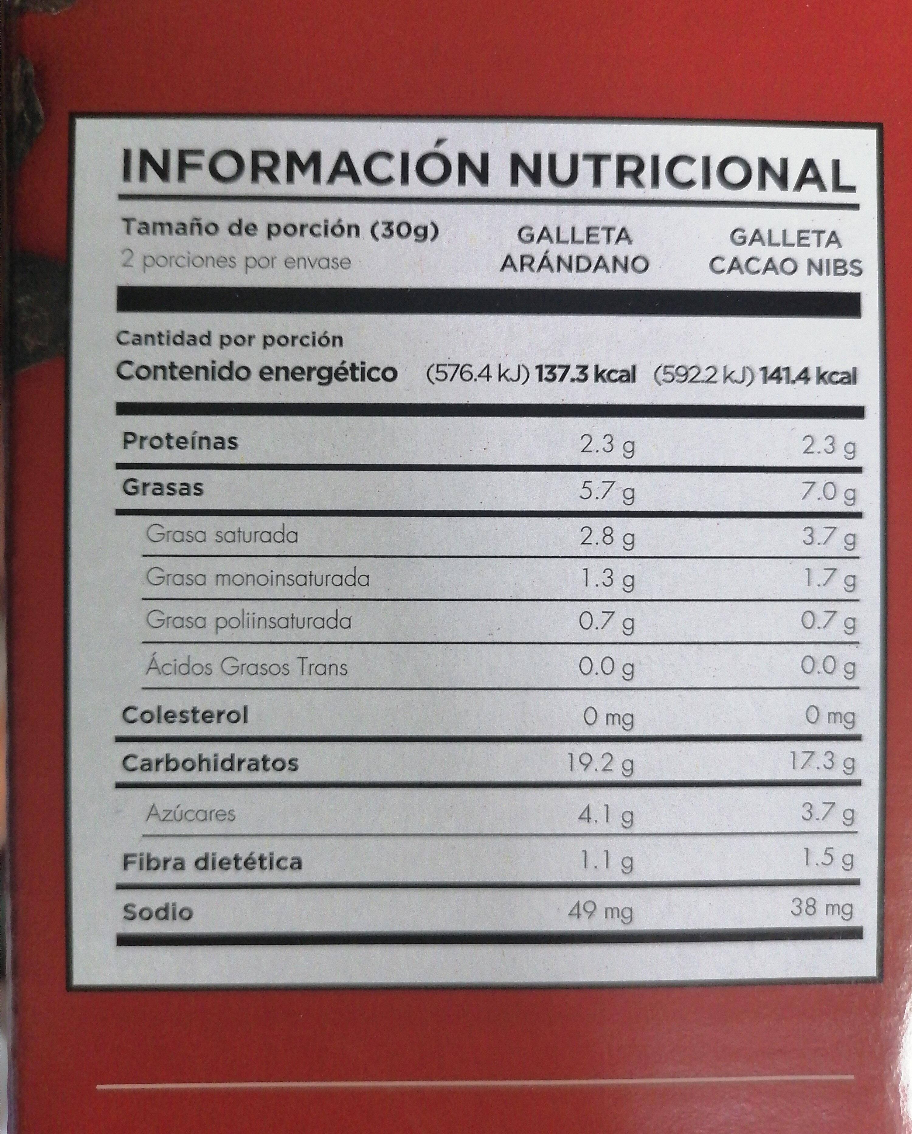 Galletas con avena sabor cacao nibs y arándano - Información nutricional - es