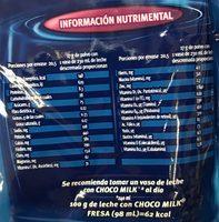 Polvo para preparar bebida sabor fresa - Informations nutritionnelles - es