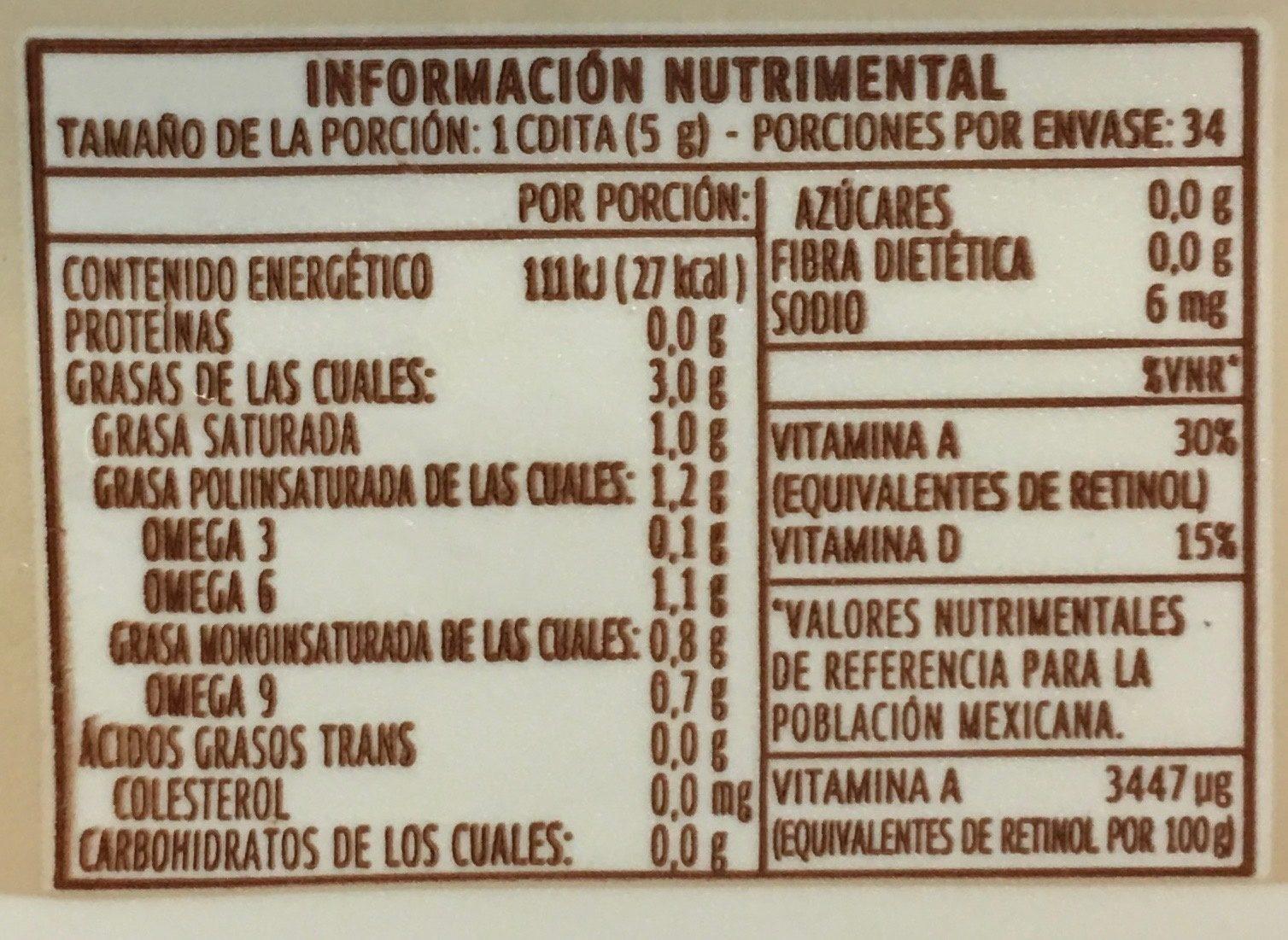Margarina Coco & Almendra Sin Sal Primavera - Voedingswaarden