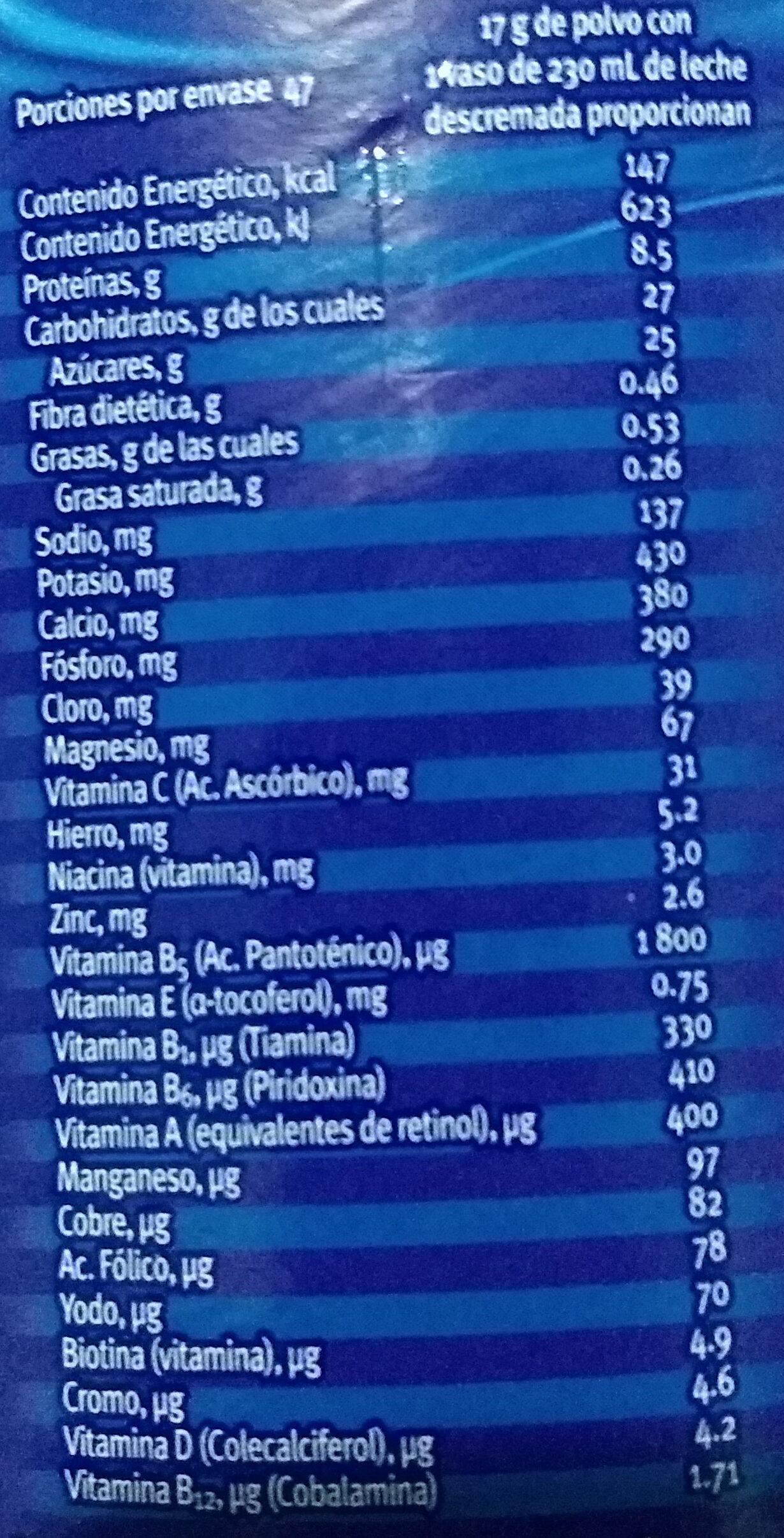 Choco Milk sabor a chocolate - Informació nutricional - es