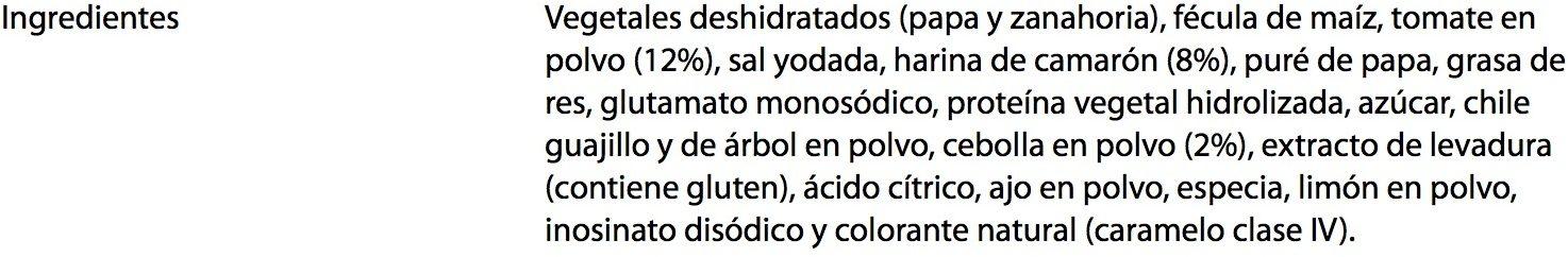 Sopa Méxicana Caldo de Camarón - Ingrediënten - es