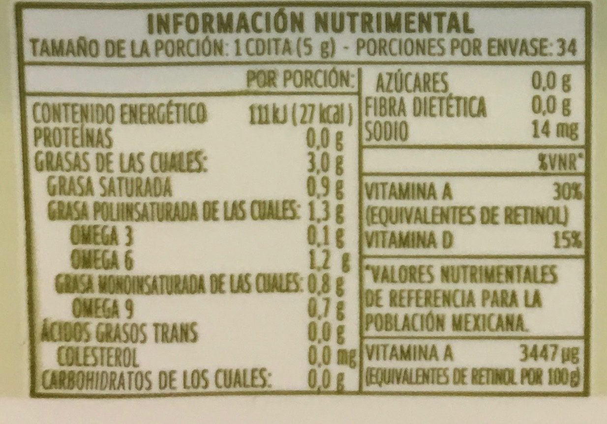 Margarina Con Sal oliva Primavera - Nutrition facts - es