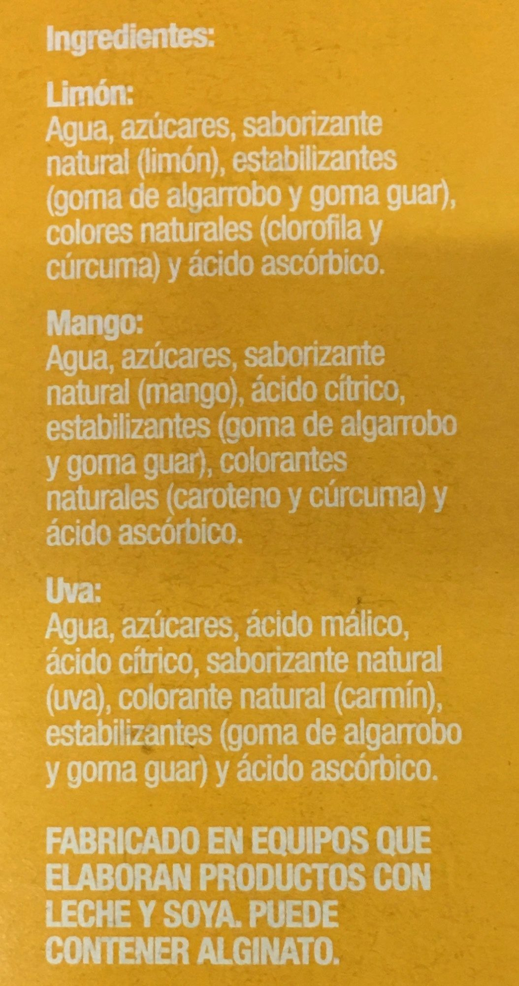 Paleta de agua Kolorix sabor Uva, mango o limon Holanda - Ingrediënten