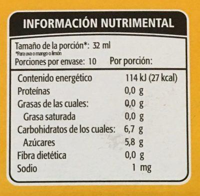 Paleta de agua Kolorix sabor Uva, mango o limon Holanda - Voedingswaarden
