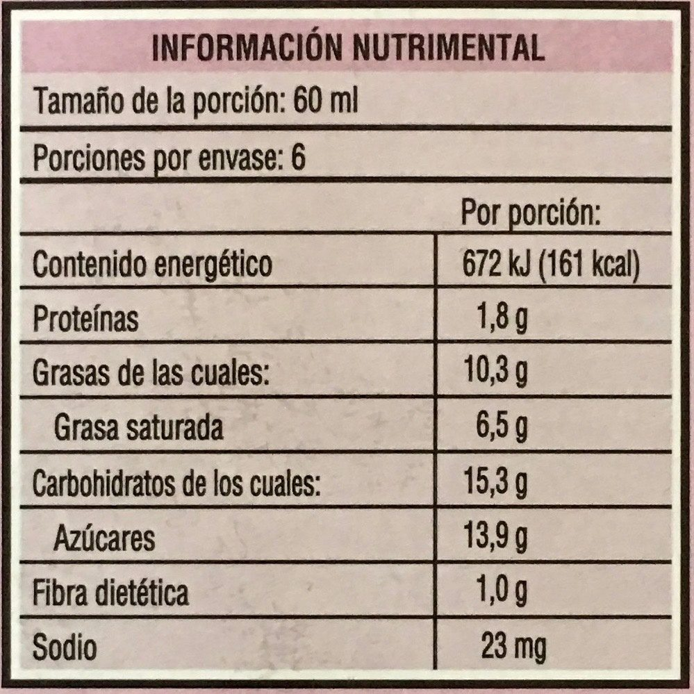 Magnum mini praliné - Informations nutritionnelles - es