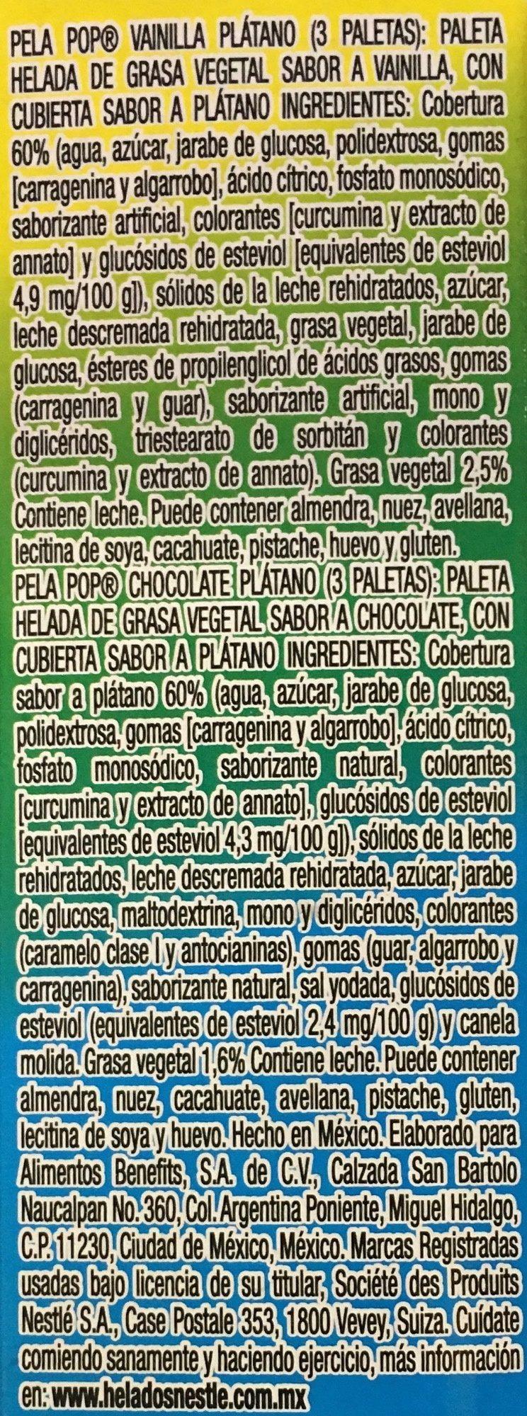 Pela Pop Kaskaraleta vainilla - Ingrediënten - es