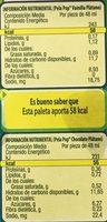 Pela Pop Kaskaraleta vainilla - Voedingswaarden - es