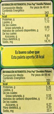 Pela Pop Kaskaraleta vainilla - Informations nutritionnelles - es
