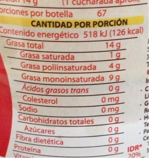 Aceite Vegetal Mixto - Información nutricional - es