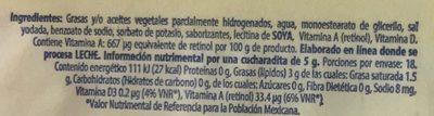 Margarina sin sal Delicia Eugenia - Ingrediënten - es