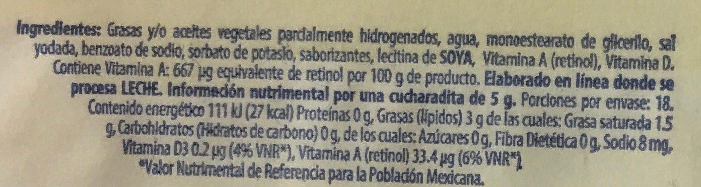 Margarina sin sal Delicia Eugenia - Voedingswaarden - es